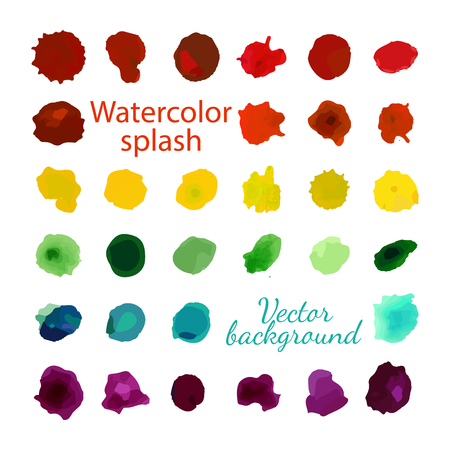 Vector illustration. Colorful watercolor splashes isolated on white background