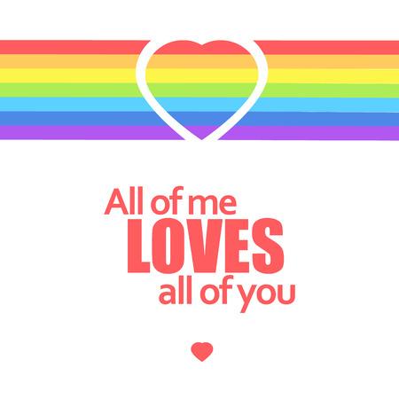 Rainbow heart love message. Vector background illustraiton Çizim