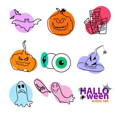 Halloween icons set. Pumpkin bat eyeballs witch hat ghosts icons.