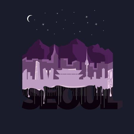 Night Seoul. Typography vector illustration with cityscape view.