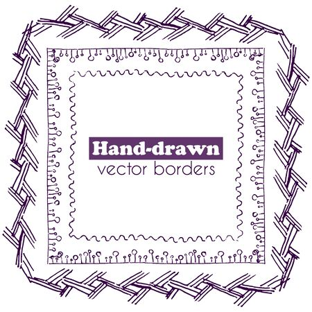Set of hand drawn vector pen line borders Çizim