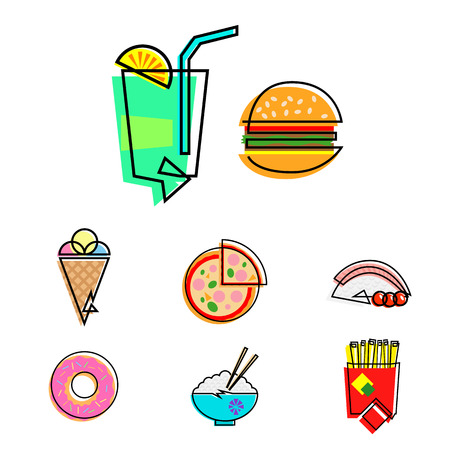 Set of 8 fast food vector icons