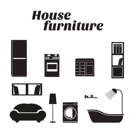 House furniture vector icons set