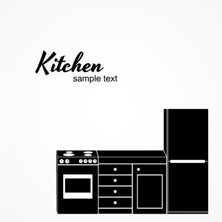 Kitchen furniture kit. Vector illustration