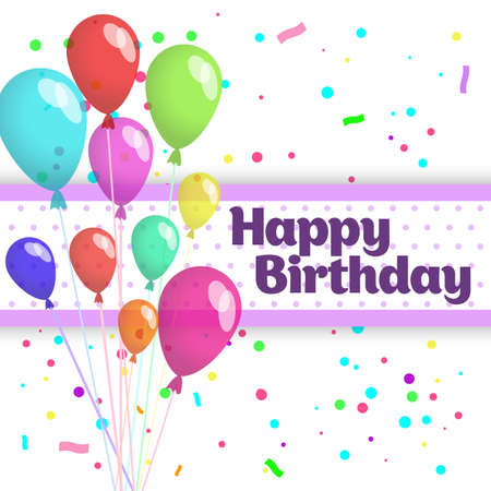 Colorful Happy Birthday card with balloons and confetti.