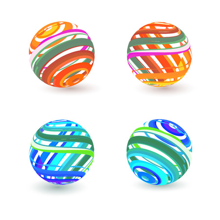 Set of four 3d sphere.Vector icons.