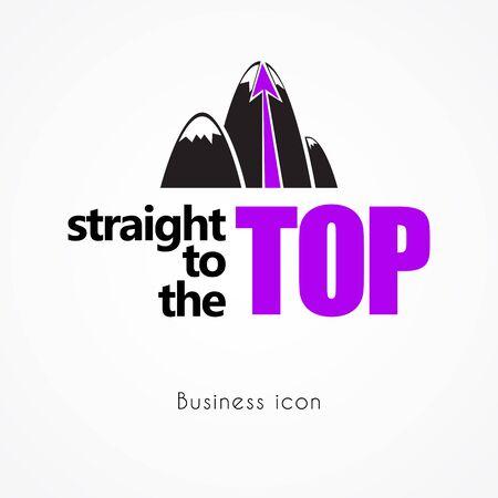 Mountain business icon, vector illustration Çizim