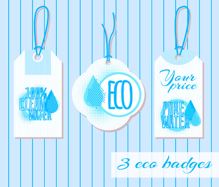 Set of three clear water badges