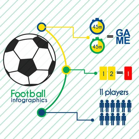 Football infographics elements set. Flat sport icons.