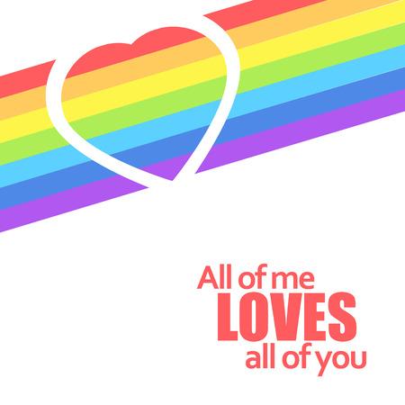 Rainbow heart. Vector background illustraiton