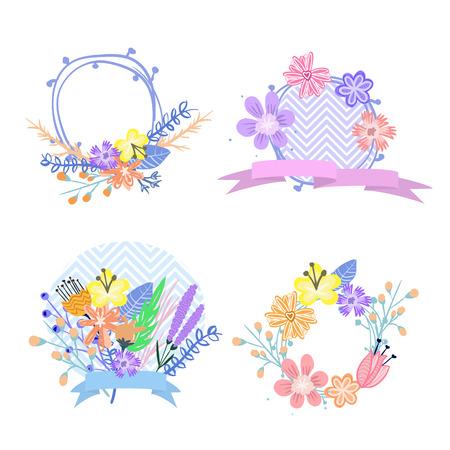 Set of vector flower frames and labels