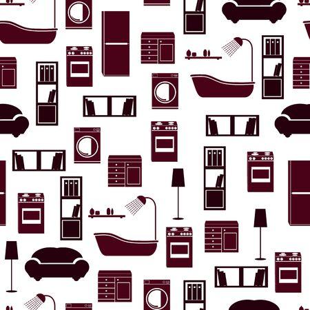 Home interior furniture vector seamless pattern background Çizim