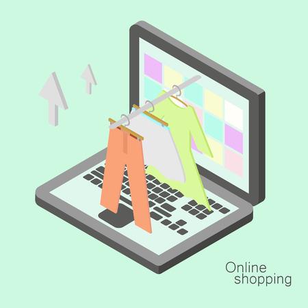 Isometric online shopping illustration. Vector internet shopping concept.