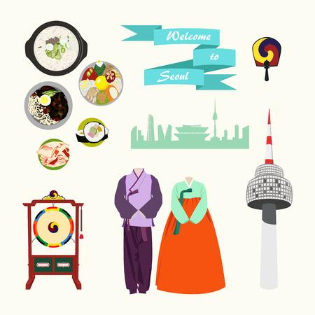 Coreano elementos tradicionais set vector