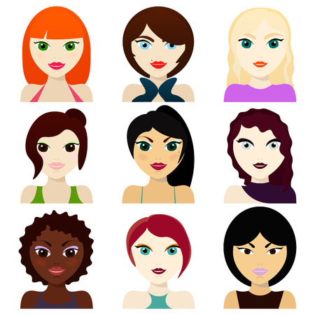 Female avatars.hairstyles, eyes and mouths