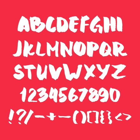 Hand written alphabet with numbers and symbols. Çizim