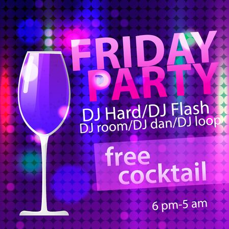 Bright Friday party free cocktail flyer template