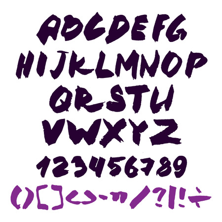 letters of the alphabet: Hand written alphabet with numbers and symbols. Illustration