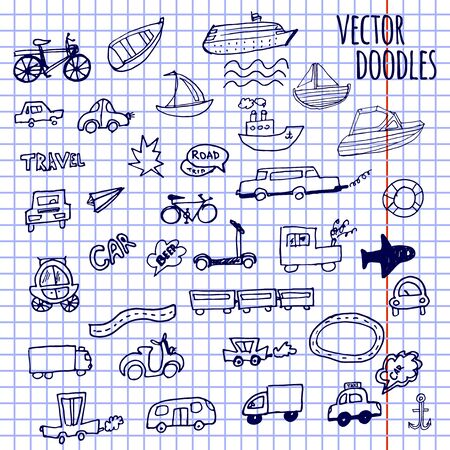 Hand-drawn doodle-style cars, ships and bicycle vector background