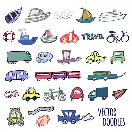 Hand-drawn doodle style cars, ships and bicycle vector background Çizim