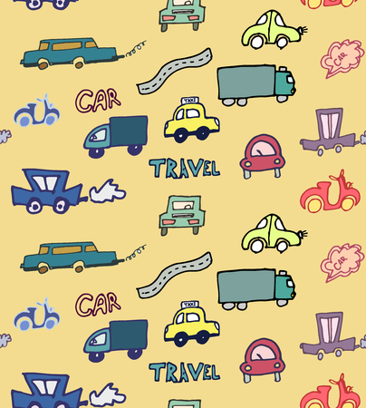 Hand-drawn doodle style cars seamless pattern vector background