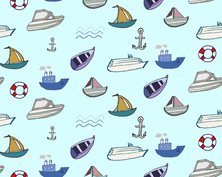 Hand-drawn doodle style ships and boats seamless pattern vector background