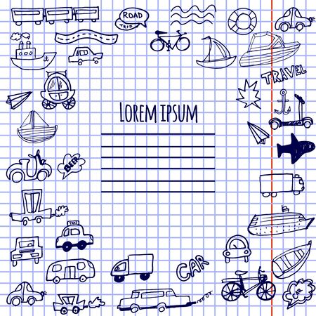 Hand-drawn doodle cars, bicycles and ships vector background. Can be used for notebook covers, cards and scrapbooking.