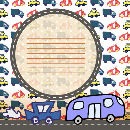 Vector scrapbooking layout background with cute doodle cars  Çizim