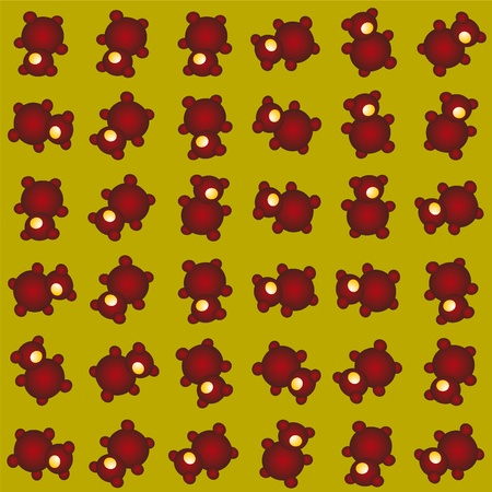 One Eyed Teddy Bear Seamless Pattern