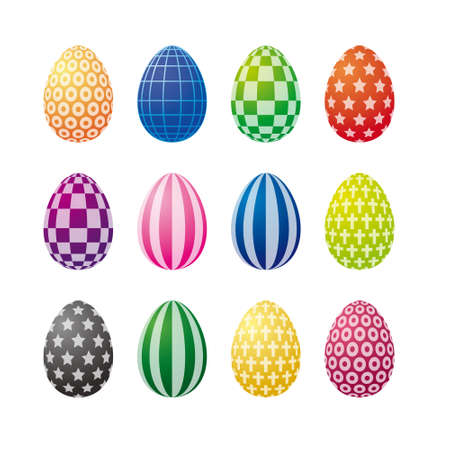 Collection Of Op Art Easter Eggs Isolated On White Background photo