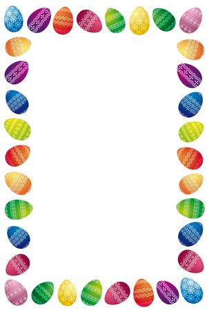 cute border: Easter Border Made Of White Painted Easter Eggs Isolated On White Background Stock Photo