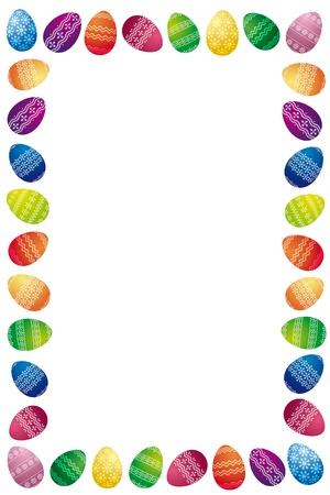 arbol de pascua: Frontera Pascua Made Of White huevos de Pascua pintados sobre fondo blanco
