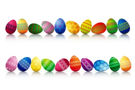Two Different Rows Made Of Easter Eggs Isolated On White Background photo