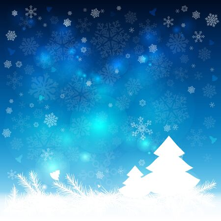 Abstract winter blue background, with snowflakes and Christmas tree. Vector illustration.