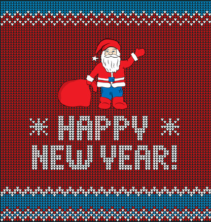 stockinet: Card of Happy New Year 2017 with Santa. Knitted texture Illustration