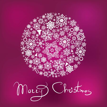 Marry Christmas card with ball from snowflaks Фото со стока - 66227394