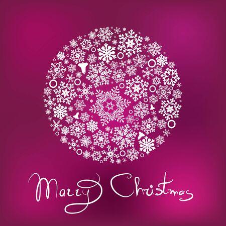 Marry Christmas card with ball from snowflaks Ilustração