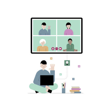Vector flat illustration of e-learning, online education concept. Student boy is sitting on the floor and learning with laptop. Online communication and social media