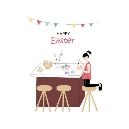 Happy Easter! Cute vector color flat illustration with little girl decorates eggs. Preparation for the holiday. For greeting card, poster, banner.