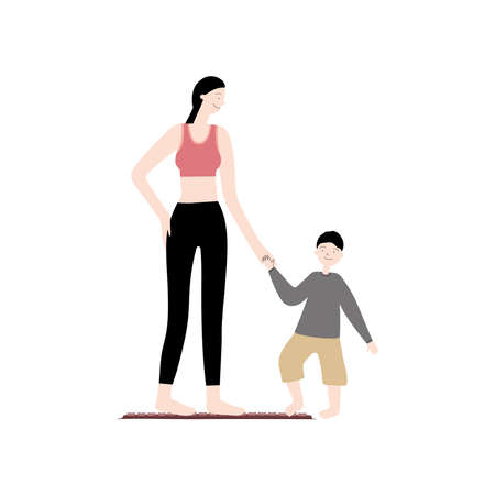 Vector flat hand drawn illustration with mom and son use acupuncture mat to massage feet. Applicators for self-massage. Acupressure and family