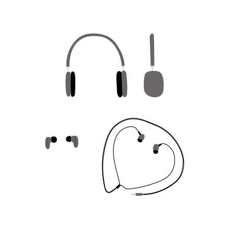 Vector handdrawn flat illustration set with different types of headphones isolated on white background. Equipment for blogging, vlogging and recording podcasts and videos