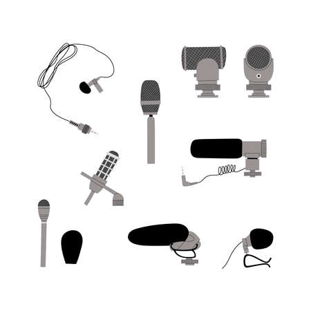 Vector handdrawn flat illustration set with different types of microphones isolated on white background. Equipment for blogging, vlogging and recording podcasts and videos