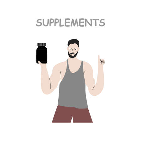 Vector hand drawn color illustration isolated on white background. Muscular strong fitness man with thumb up and bank of nutrition sport protein supplements