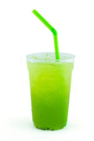 Kiwi italian soda take home drink on white background photo