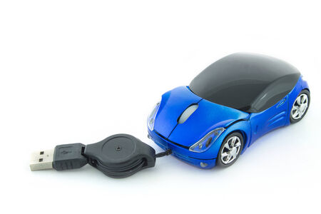scrollwheel: Blue computer mouse with car design on a white background