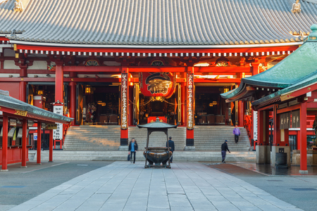 TOKYO, JAPAN - December 12: Morning view around Sensoji Temple in Tokyo, Japan on December 12, 2016. It is the oldest temple in Tokyo and it is one of the most significant Buddhist temples located in Asakusa area.
