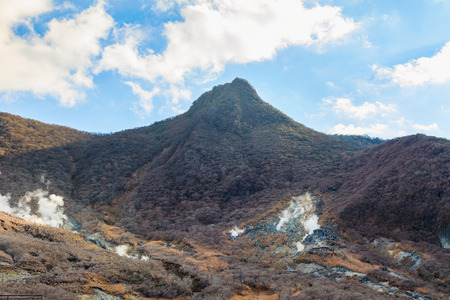 Mountain Mt. Fuji at owakudani, sulfur quarry in Hakone, Japan