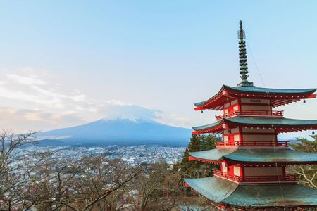 Mt fuji with red pagoda, chureito pagoda, Fujiyoshida Japan Stock Photo