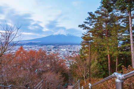 momiji: Mountain Fuji in autumn, twilight in morning scene, Japan