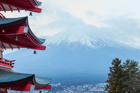Mt fuji with red pagoda, chureito pagoda, Fujiyoshida Japan Editorial